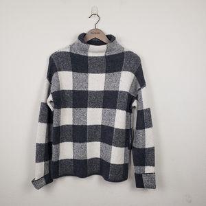 Tahari Wool Blend Plaid Mock Turtleneck Sweater